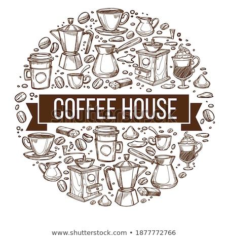 sketch · diverso · mug · caffè · piattino · stile - foto d'archivio © arkadivna