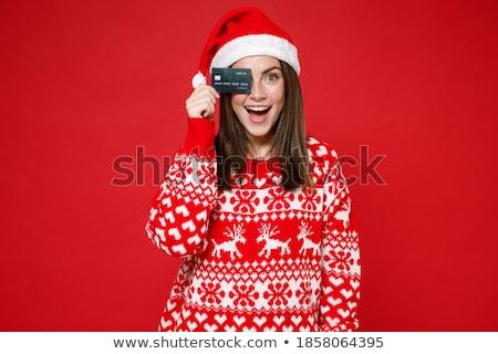 boldog · fiatal · nő · visel · pulóver · kalap · izolált - stock fotó © deandrobot