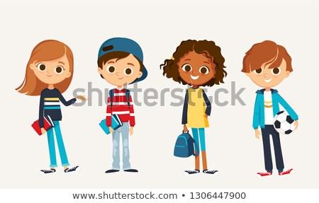 Сток-фото: Kids And Teens Characters Group Color Book