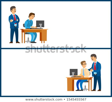 Worker Control and Good Job Poster. Company leader Stock photo © robuart