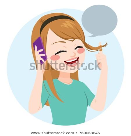 Stock fotó: Girl Talking On The Phone With Speech Balloon