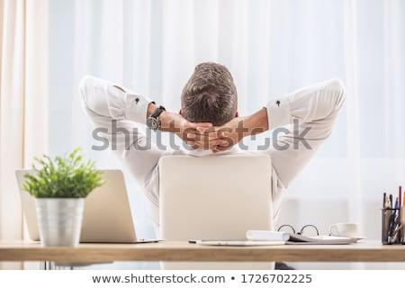 Empresário relaxante mãos atrás cabeça sessão Foto stock © Giulio_Fornasar