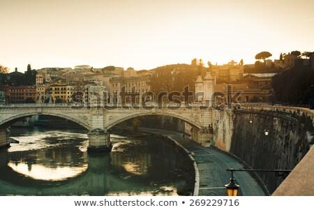 Róma kilátás Szent Péter Bazilika este égbolt híd Stock fotó © borisb17