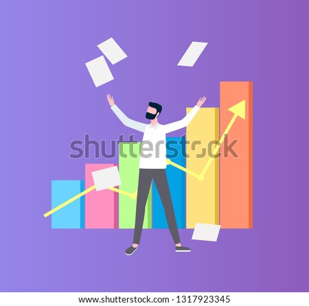 Man Throwing up Papers near Flowchart Flat Vector Stock photo © robuart