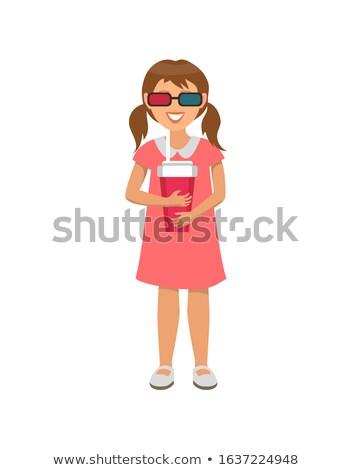 Meisje jurk virtueel realiteit bril roze Stockfoto © robuart