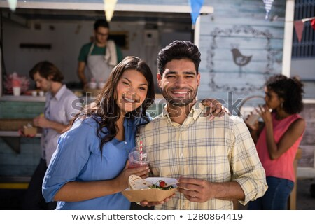портрет улыбаясь пару Постоянный сока Сток-фото © wavebreak_media