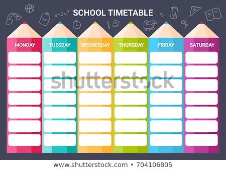 Colorful school timetable, weekly schedule with supplies and student items Stock photo © MarySan