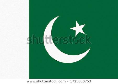 Pakistan bayrak beyaz imzalamak seyahat baskı Stok fotoğraf © butenkow