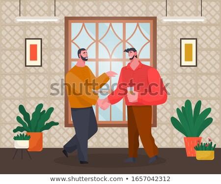 Domu recepcji kawalerowie handshake znajomych mężczyzna Zdjęcia stock © robuart