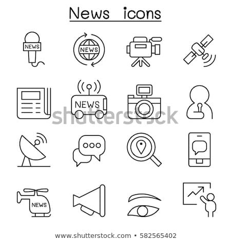 Mass media - line design style icons set Stock photo © Decorwithme