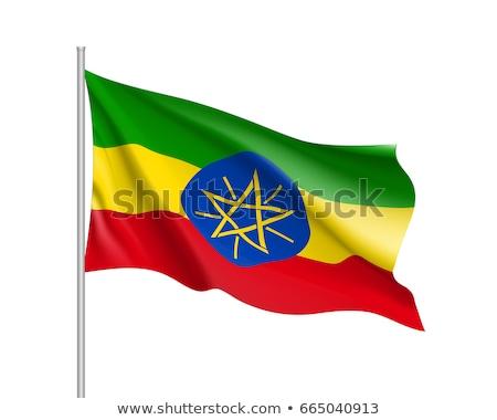 Etiopia banderą biały tle podpisania zielone Zdjęcia stock © butenkow