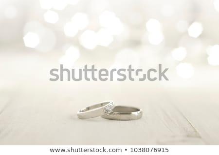 Kettő jegygyűrűk bokeh pár kék harisnyakötő Stock fotó © ruslanshramko