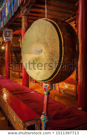 Gong drum in Likir gompa Stock photo © dmitry_rukhlenko