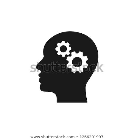 Gear Cogwheel Mechanism In Silhouette Mind Vector Stock photo © pikepicture