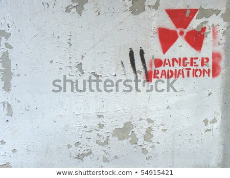 Branco pintar parede radiação aviso projeto Foto stock © Melvin07