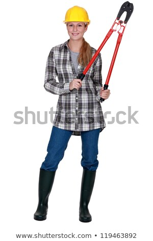 Tradeswoman holding out large clippers Stock photo © photography33