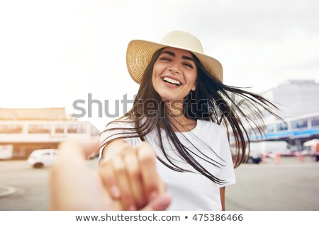 Sorrindo cabelos longos chapéu de palha mulher seis Foto stock © photography33