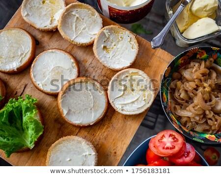 Hamburger soğan domates klasik marul beyaz Stok fotoğraf © bugstomper
