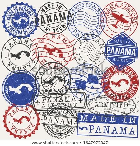 Posta Panama görüntü damga harita bayrak Stok fotoğraf © perysty