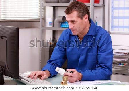 vízvezetékszerelő · asztali · számítógép · számítógép · iroda · építkezés · ipar - stock fotó © photography33