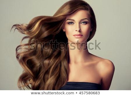 bela · mulher · cabelos · longos · cara · mãos · mulher · feliz - foto stock © dolgachov