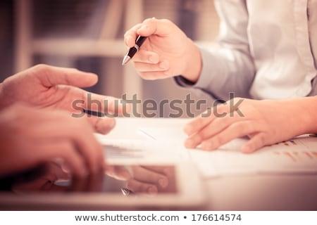işkadını · bir · şey · işaret · el · imzalamak - stok fotoğraf © wavebreak_media