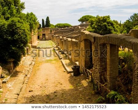 Ancient Roman Stone Wall Background Ostia Antica Rome Italy Stock photo © billperry