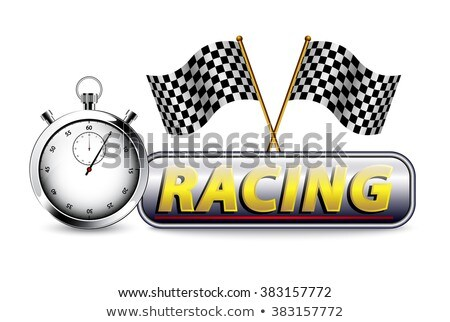 Black background with checkered flag and stopwatch Stock photo © gladiolus
