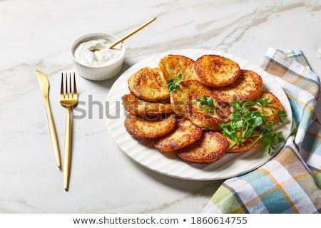 pannenkoeken · aardappel · keuken · diner · plaat · vork - stockfoto © jonnysek