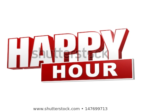 happy hour red white banner   letters and block stock photo © marinini