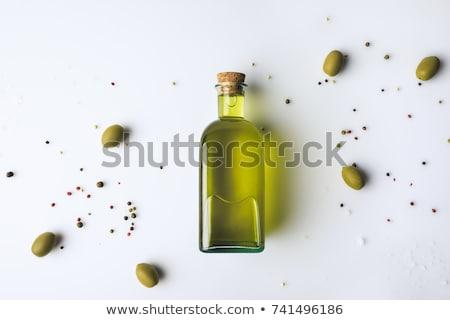 zeytinyağı · şişe · bir · yeşil · zeytin · beyaz - stok fotoğraf © tetkoren