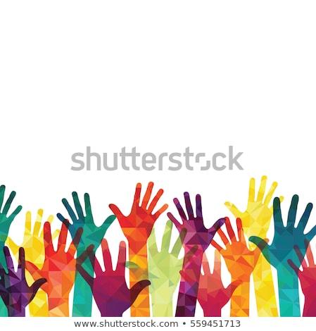 красочный силуэта рук дизайна счастливым толпа Сток-фото © kiddaikiddee