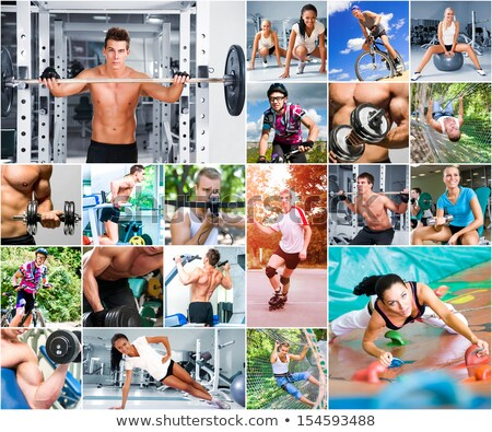 Fitness collage appel meetlint voedsel Stockfoto © fantazista