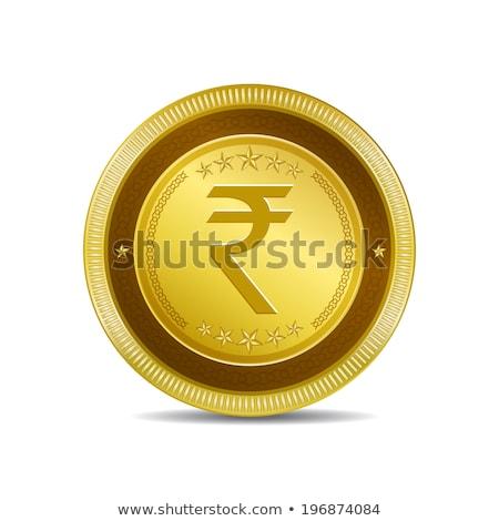 Rupee Currency Sign Circular Vector Gold Web Icon Button Stock photo © rizwanali3d