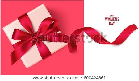 Rosa caja de regalo arco aislado blanco Foto stock © teerawit
