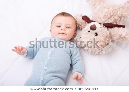 feliz · madre · cute · nina · osito · de · peluche · dormir - foto stock © deyangeorgiev