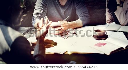 группа рабочих план таблетка Сток-фото © deandrobot