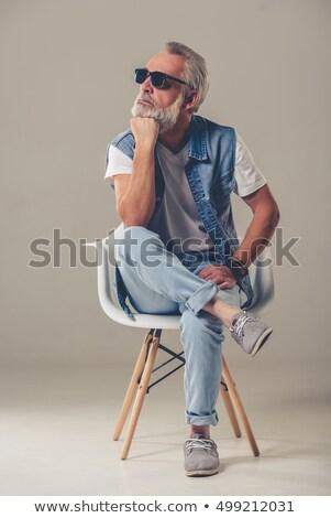 atractivo · hombre · gafas · denim - foto stock © feedough