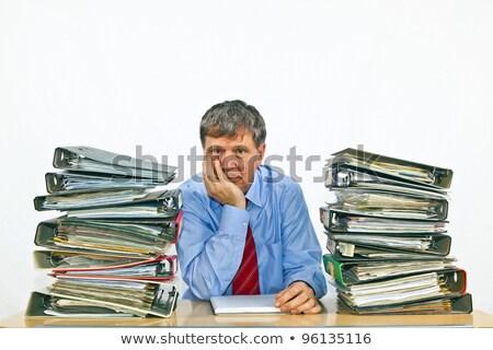yorgun · işçi · yakacak · odun · alın · bir - stok fotoğraf © hofmeester