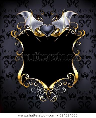 Gótico vampiro coração preto pele asas Foto stock © blackmoon979