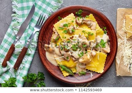 Nadziewany makaronu grzyby kuchnia włoska obiedzie tablicy Zdjęcia stock © Digifoodstock