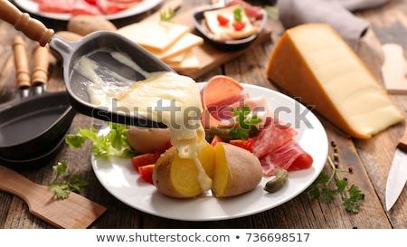 Kaas gesmolten aardappel voedsel diner eten Stockfoto © M-studio