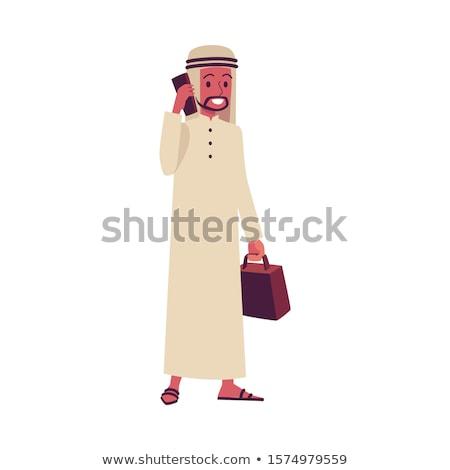 Arap · mutlu · adam · konuşma · cep · telefonu · vektör - stok fotoğraf © nikodzhi