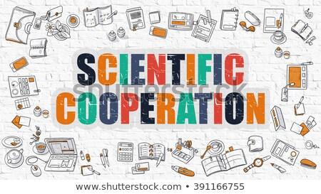 Wetenschappelijk samenwerking witte moderne lijn stijl Stockfoto © tashatuvango