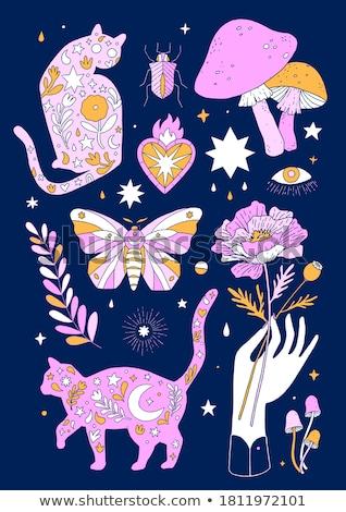 Muitos insetos adesivo projeto ilustração borboleta Foto stock © bluering