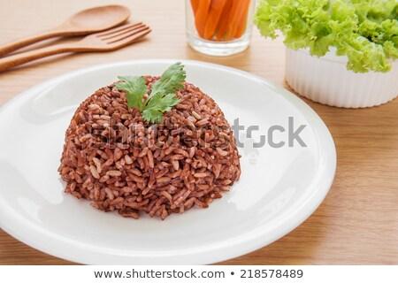 rizs · fából · készült · merőkanál · barna · tányér · konyha - stock fotó © digifoodstock