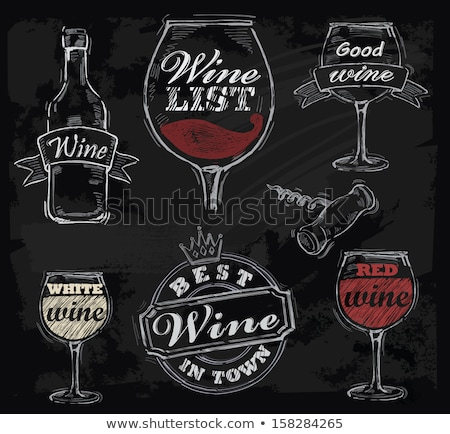 赤ワイン · ガラス · 黒板 · 木製のテーブル · 先頭 · 表示 - ストックフォト © karandaev