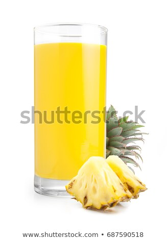 パイナップル · ジュース · ガラス · 飲料 · わら · 孤立した - ストックフォト © lana_m