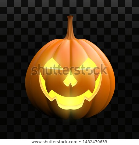 halloween pumpkins and ghost demon and candles 3d illustration a stock photo © Wetzkaz