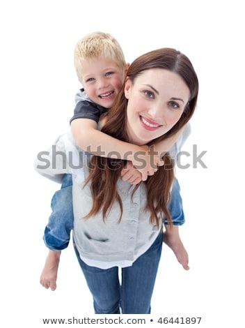 ilustração · super · pai · bonitinho · sorrir · criança - foto stock © wavebreak_media